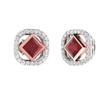 f42d13624 Jewelure Earring with Princess cut Ruby, SI Diamond | 0.62 carat ...