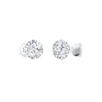Vvs Diamond Studs Earring In 14k White Gold