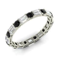 black diamond and vs diamond wedding ring in 14k white gold 174 cttw - Black Diamond Wedding Ring