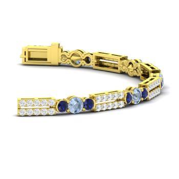 Aquamarine Tennis Bracelet In 14k Yellow Gold With Shire Si Diamond