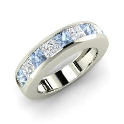 aquamarine and vs diamond mens ring in 14k white gold 137 cttw - Aquamarine Wedding Ring