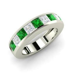 Emerald And Vs Diamond Men S Ring In 14k White Gold Keith