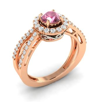 d78396ef97ffa2 Pink Sapphire Vintage Engagement Ring in 14k Rose Gold with SI Diamond