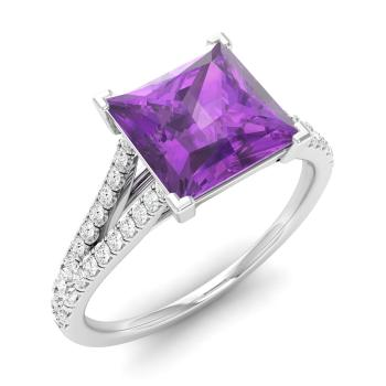 Engagement & Wedding Princess Cut Amethyst Engagement Sterling Silver Ring Cz, Moissanite & Simulated