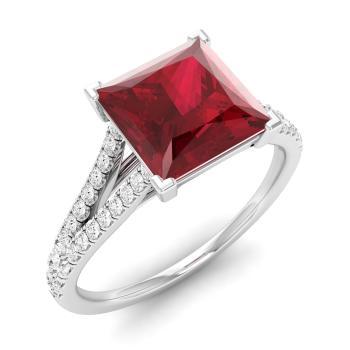 Kensington Engagement Ring With Princess Cut Ruby I Diamond 1 79