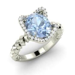 Aquamarine Engagement Ring in 14k White Gold with SI Diamond (1.74 ct.tw.