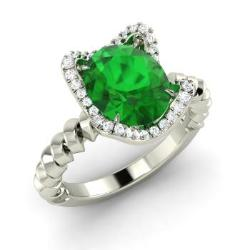 emerald engagement ring in 14k white gold with si diamond 187 cttw - Emerald Wedding Rings