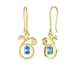 Emerald cut blue topaz earrings in 10k yellow gold and chandelier emerald cut blue topaz chandelier earrings in 10k yellow gold with diamond lamont aloadofball Image collections