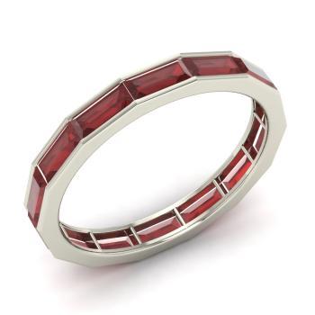 Emerald Cut Garnet Wedding Ring In Sterling Silver