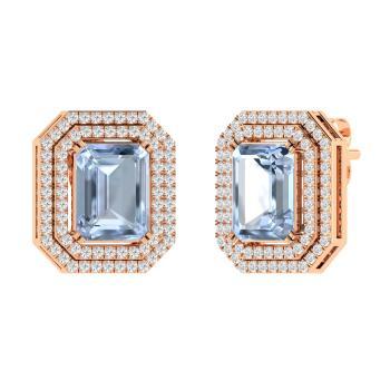 Emerald Cut Aquamarine And Diamond Drops Earring In 14k Rose Gold