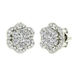 Diamond Studs Earrings In 14k White Gold Lehana