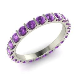 amethyst wedding ring in 14k white gold 138 cttw lesta - Amethyst Wedding Rings