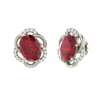 Oval Cut Ruby And Diamond Studs Earring In Sterling Silver
