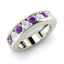 amethyst and diamond wedding ring in 14k white gold 106 cttw - Amethyst Wedding Rings