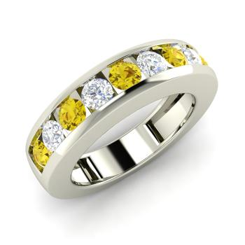 Yellow Diamond And Diamond Ring In 14k White Gold   Lija