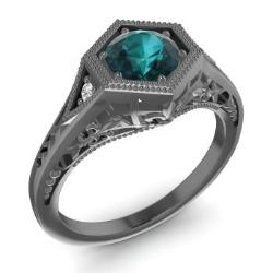 Blue Diamond Engagement Ring in 14K Black Gold with SI Diamond (0.68 ct.tw