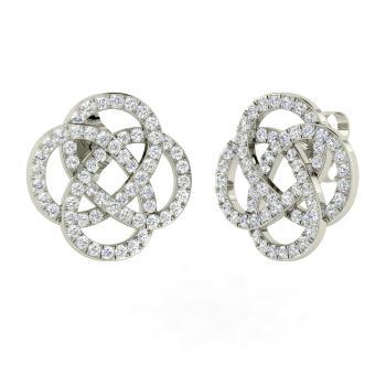 Si Diamond Studs Earring In 14k White Gold