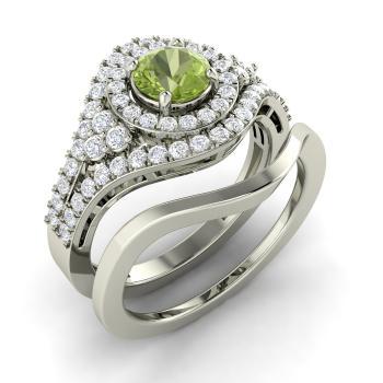 Lizann Ring With Round Peridot Si Diamond 1 08 Carat Round
