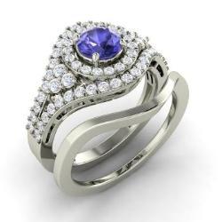 Bridal Ring Set Tanzanite Tanzanite Bridal Rings Diamondere