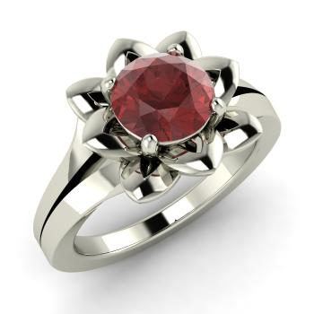 garnet solitaire engagement ring in platinum - Lotus Wedding Ring