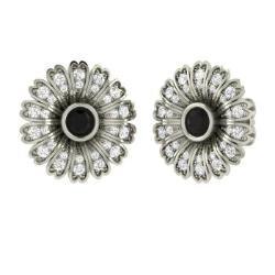 Black Diamond And Earrings In 14k White Gold Lydia