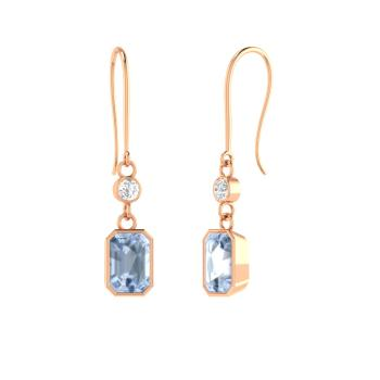 Emerald Cut Aquamarine And Diamond Drops Earring In 18k Rose Gold