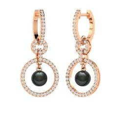 Black pearl earrings in rose gold diamondere black pearl and diamond earrings in 14k rose gold lyra mozeypictures Image collections