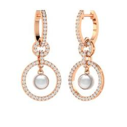 White pearl earrings in rose gold and chandelier design diamondere white pearl and diamond chandelier earrings in 14k rose gold lyra aloadofball Image collections