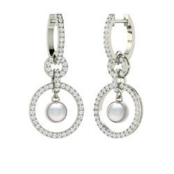 Chandelier earrings for women diamondere white pearl and diamond chandelier earrings in 14k white gold 238 ct aloadofball Gallery