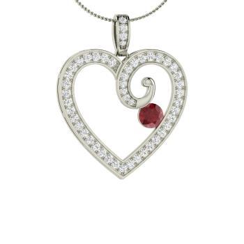 764fff0c8 Lyssa Necklace with Round Ruby, SI Diamond | 0.76 carat Round Ruby ...