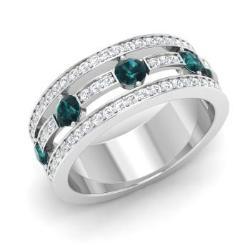 Blue Diamond And Wedding Ring In 14k White Gold Maci