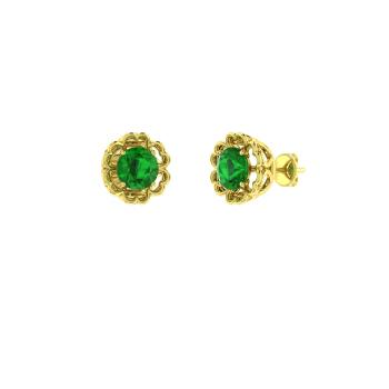 Emerald Studs Earring In 14k Yellow Gold