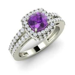 Amethyst Engagement Ring in 14k White Gold with SI Diamond (1.38 ct.tw.