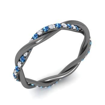 f27e5bdeee Mason Ring with Round Blue Topaz, SI Diamond | 0.44 carat Round Blue ...