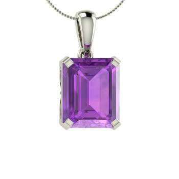 Maura necklace with emerald cut amethyst 493 carat rectangle emerald cut amethyst unique necklace in 14k white gold mozeypictures Image collections