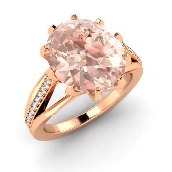 Oval Cut 14k Rose Gold Morganite Tail Ring With Si Diamond
