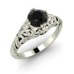 Black Diamond Engagement Ring in 14k White Gold (0.5 ct.tw.) -