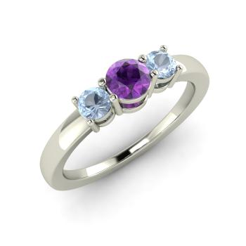 Melvina Engagement Ring with Round Amethyst Aquamarine