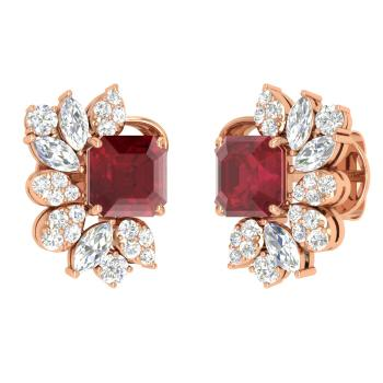Emerald Cut Ruby Studs Earring In 14k Rose Gold With Vs Diamond Si