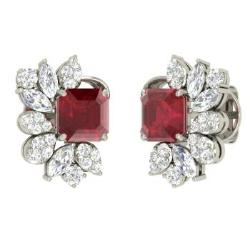 Ruby Earrings In Platinum With Vs Diamond Molly