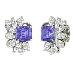 peacock oval tanzanite diamonds shaped product design with feather earrings exquisite