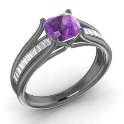 Amethyst Rings in Black Gold Diamondere