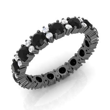 Black Diamond And Diamond Wedding Ring In 18K Black Gold