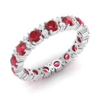 Ruby And Diamond Wedding Ring In 14k White Gold