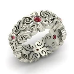 Ruby wedding ring ruby wedding band diamondere ruby wedding ring in 14k white gold nigella junglespirit Image collections