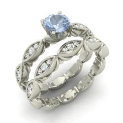 Aquamarine And Diamond Bridal Set Ring In 14k White Gold   Nique