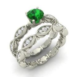 Bridal Ring Set Emerald | Emerald Bridal Rings | Diamondere