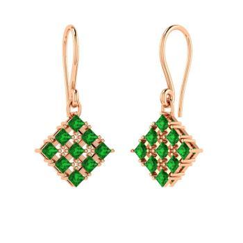 Princess Cut Emerald Chandelier Earring In 14k Rose Gold