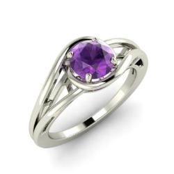 amethyst engagement ring in 14k white gold 051 cttw nora - Amethyst Wedding Rings