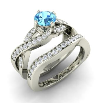 Oleda Engagement Ring With Round Blue Topaz Si Diamond 1 22 Carat